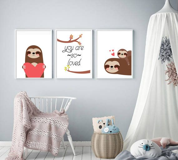 set of 3 sloth print moms love nursery wall art kids room on wall of moms id=75558