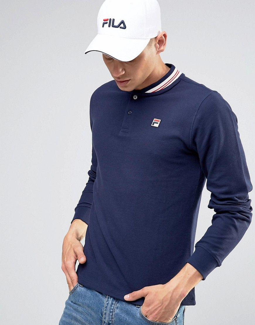 be8ffd2cd6 Image 1 of Fila Vintage Long Sleeve Polo Shirt With Retro Collar