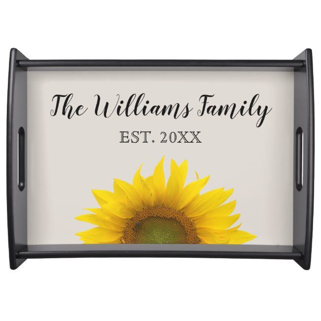 Elegant Monogram Script Yellow Sunflower Bloom Serving Tray #elegant #script #monogram #yellow #sunflower #ServingTray #kitchen #kitchenalia #monogram #monogrammed #personalized #personalised #yourname #initials #zazzleproducts