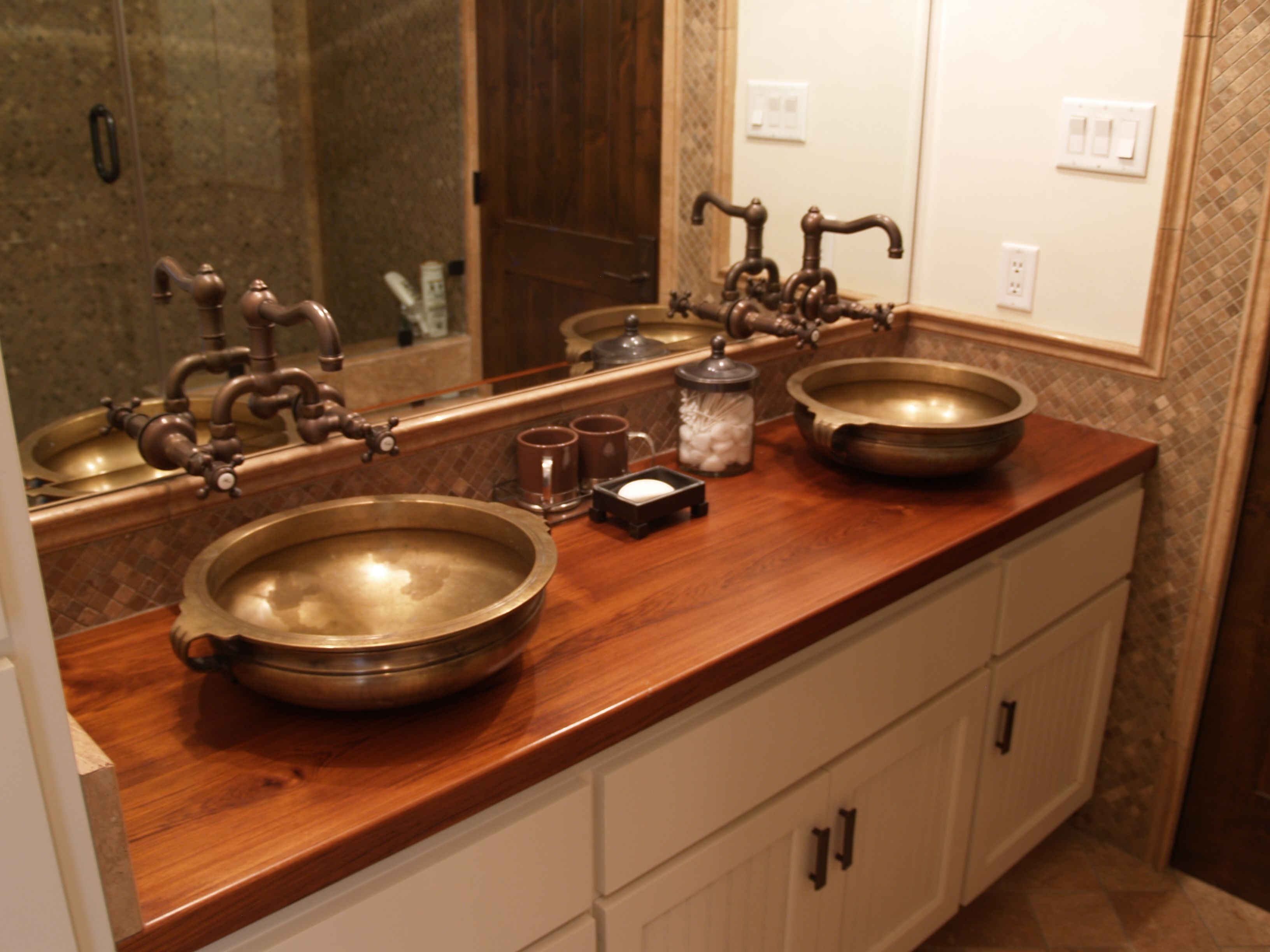 Custom Solid Wood Face Grain Teak Counter Top With Two Vessel