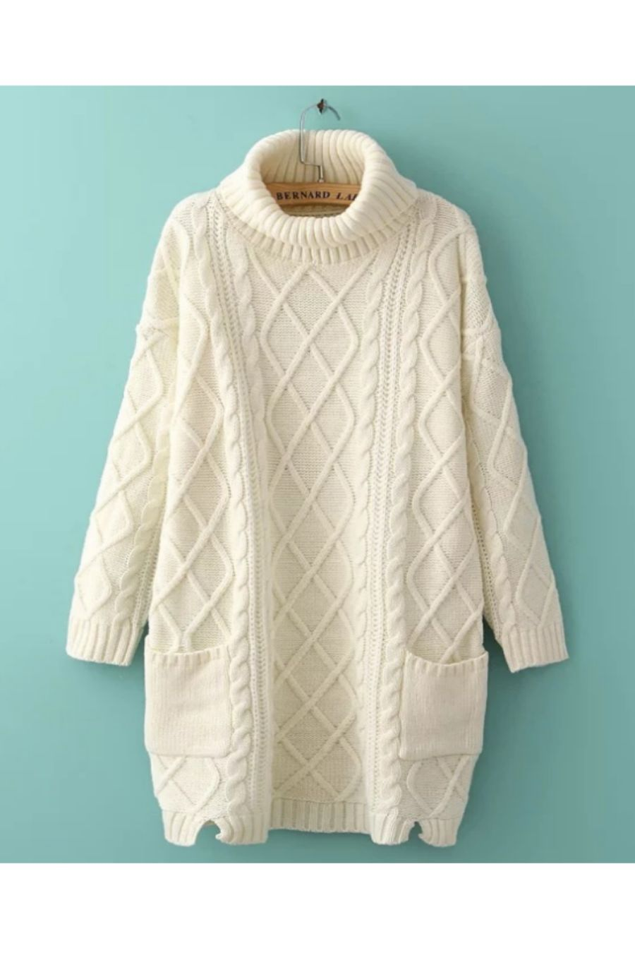 White Cable Knitted Sweater | Long sleeve turtleneck, Cable knit ...
