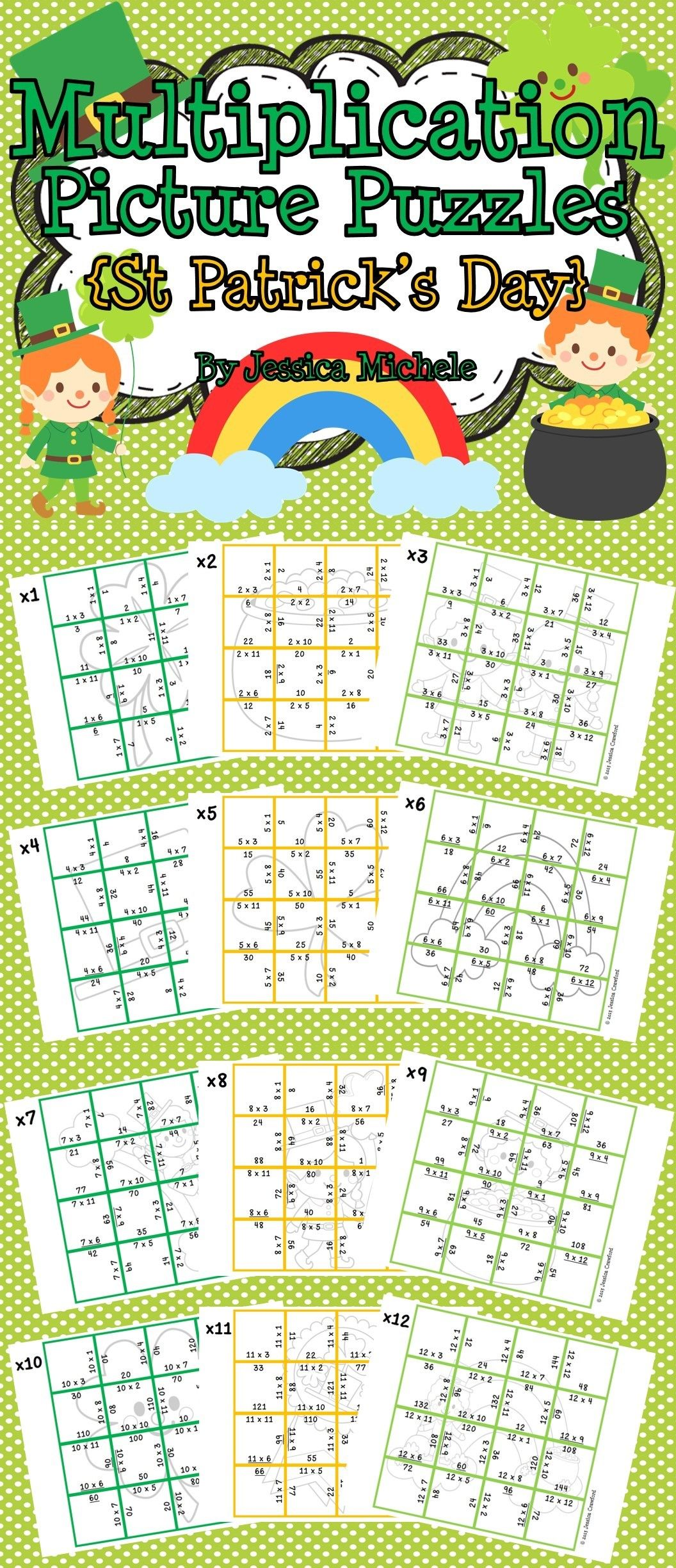 Multiplication Picture Puzzles St Patrick S Day