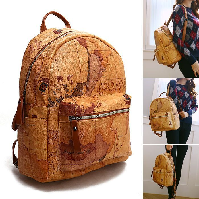 Womens backpack satchel travel world map school bag rucksack faux womens backpack satchel travel world map school bag rucksack faux leather gumiabroncs Image collections