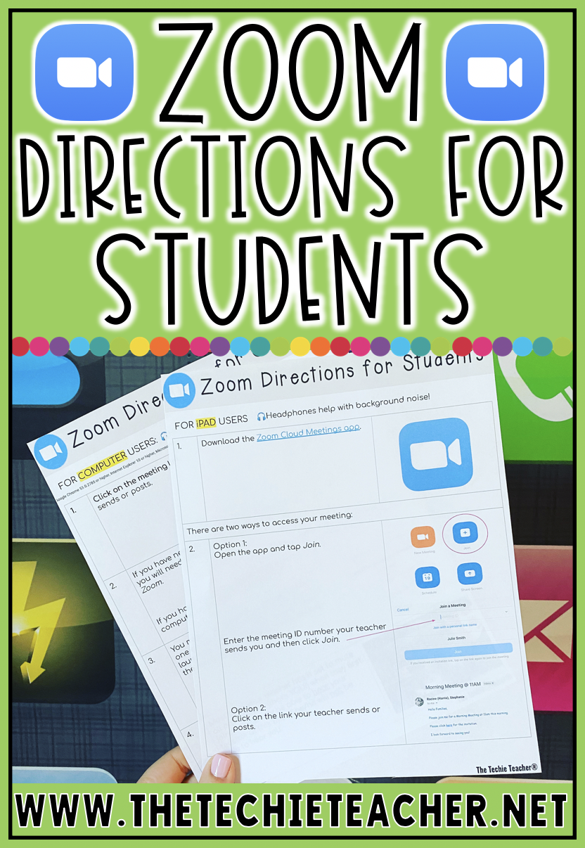 Zoom Directions for Students Teaching technology