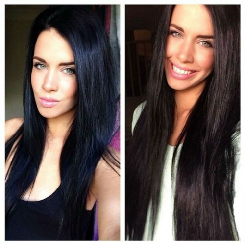 """Before And After Of Ash Wearing Her Jet Black 24"""" Set Of"""