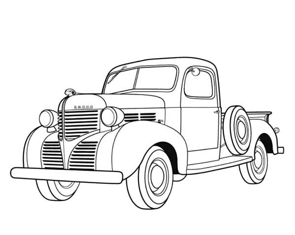 Dodge Pickup 1939 Antique Car Coloring Pages Best Place To Color Cars Coloring Pages Truck Coloring Pages Truck Art