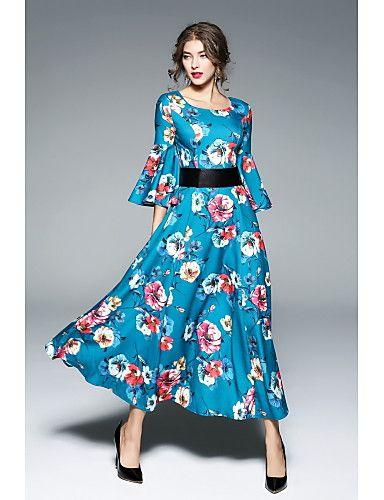 eafb11b2b Feminino balanço Vestido,Festa Casual Simples Moda de Rua Floral Decote  Redondo Longo Meia Manga Poliéster Outono Inverno Cintura Média