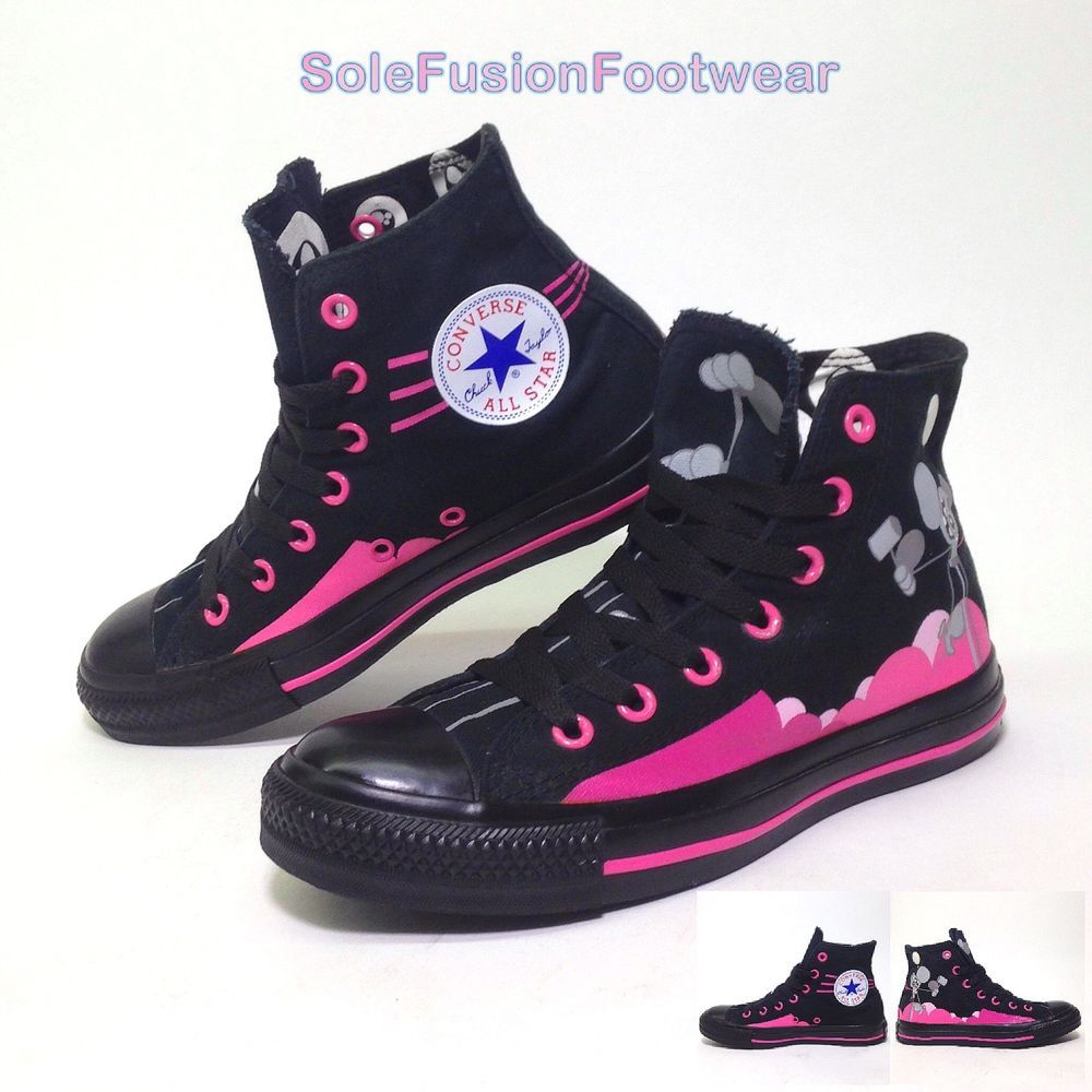 Converse Womens All Star Trainers Black/Pink sz 5 Rare Dalek ...