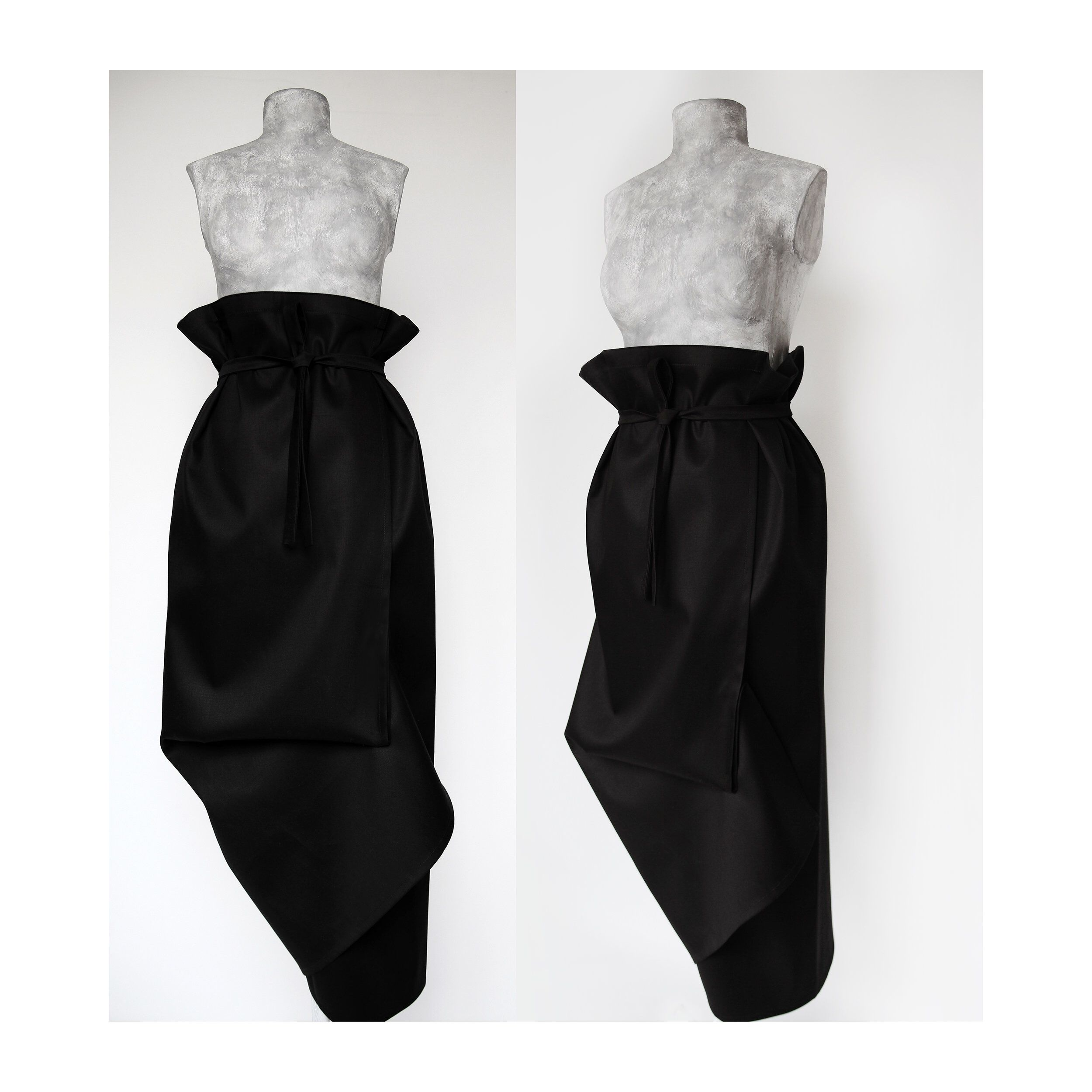 fea82f61a80beb Deconstructed black skirt  asymmetrical black skirt  avant-garde maxi  skirt  extravagant skirt
