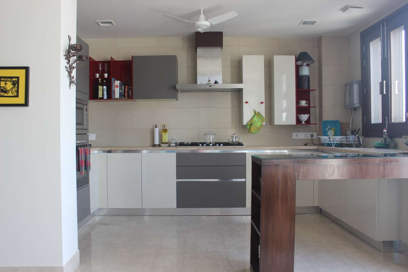 White grey and red modular kitchen delhi | Home tour Delhi India ...