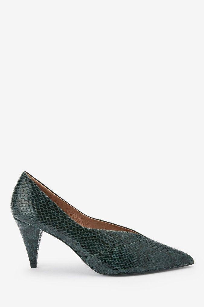 Womens Next Green Splice Cone Heel Court Shoes Green Heels Court Shoes Shoes