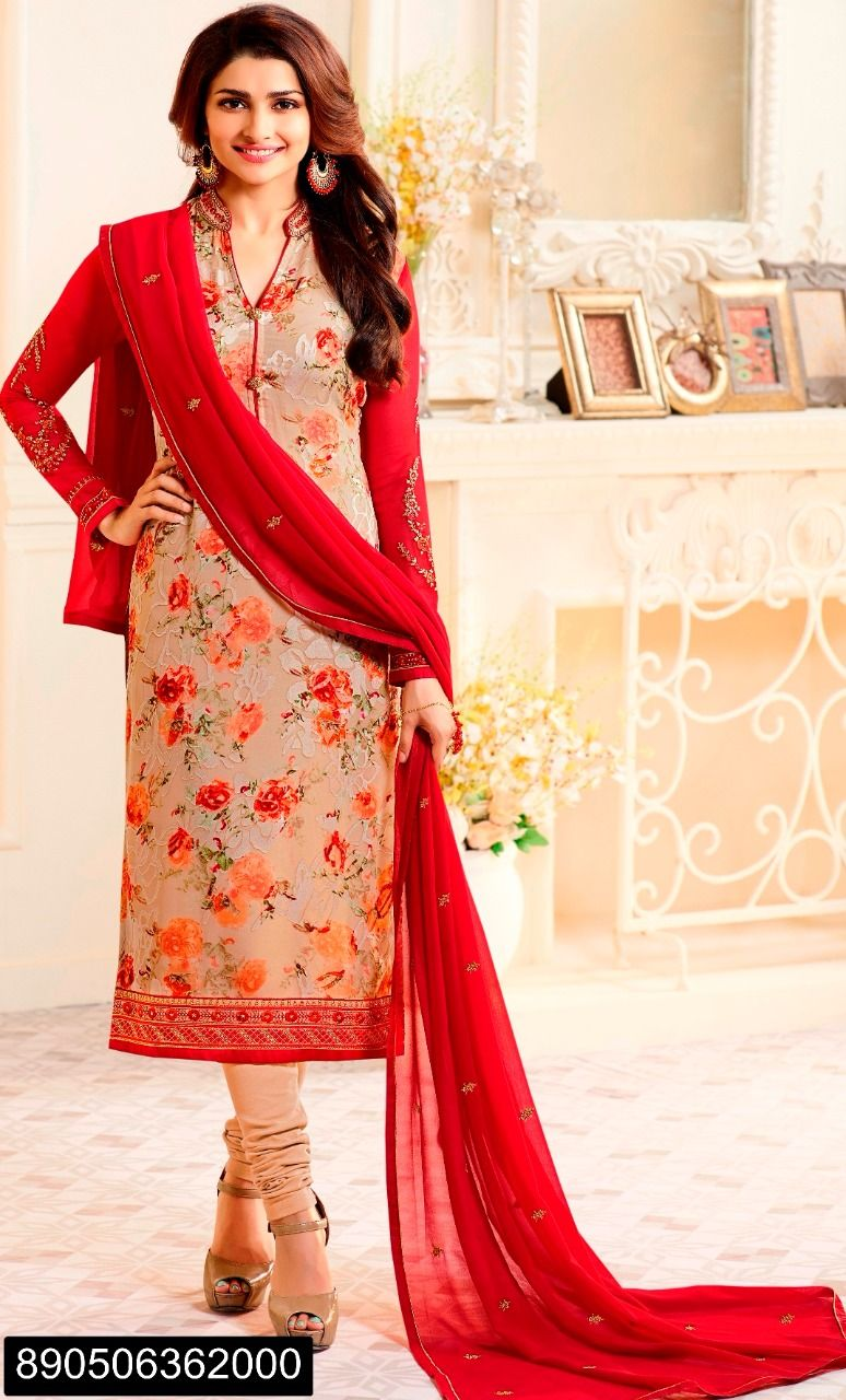 733a3fd0c8 Work: Heavy Printed crepe straight suit with beautiful design coller !! Suit  Color: