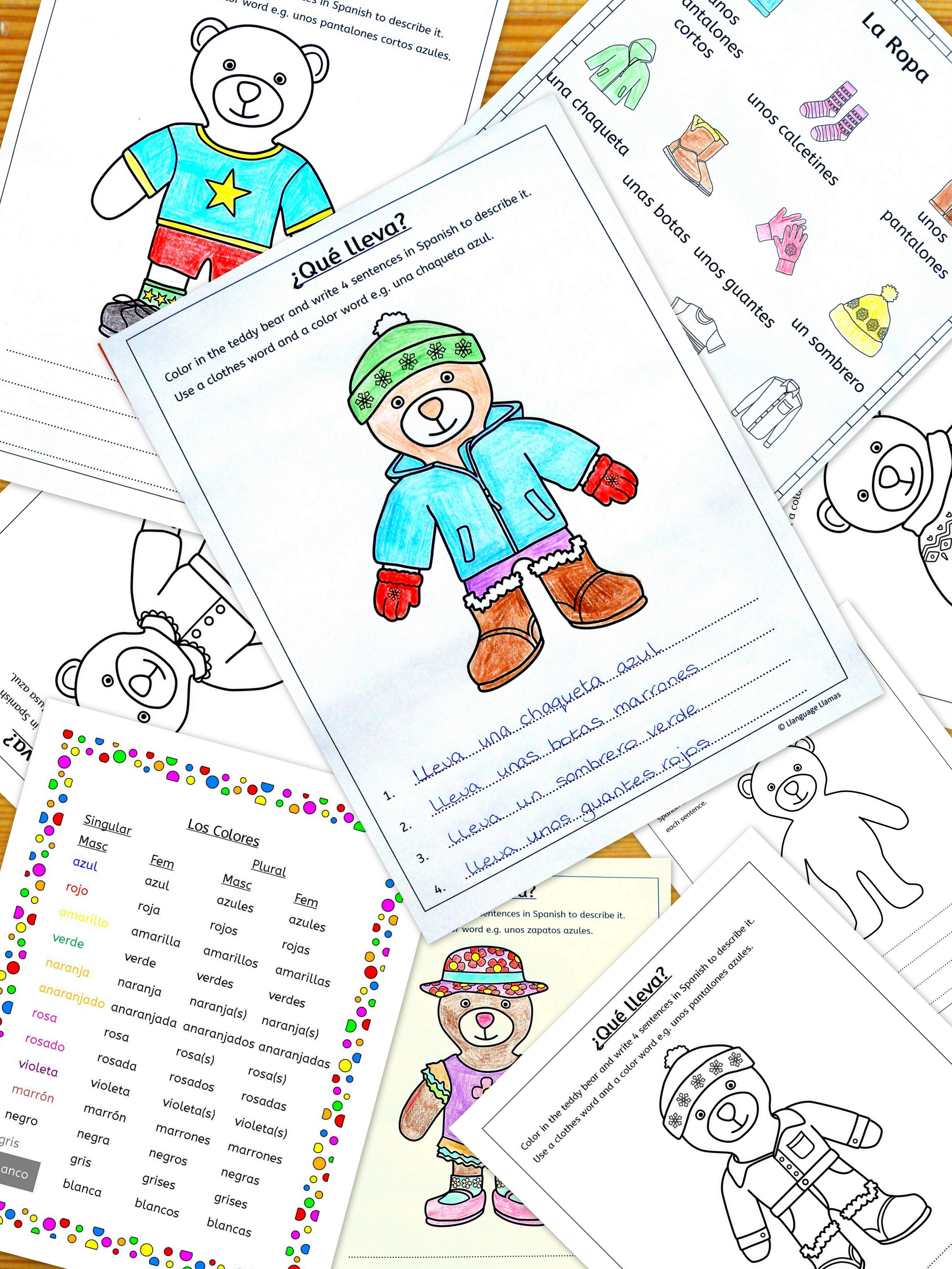 Spanish Clothes And Color Vocabulary In A Fun Teddy Bear Activity Elementary Spanish Spanish Clothing La Ropa Spanish Activities [ 5120 x 3841 Pixel ]