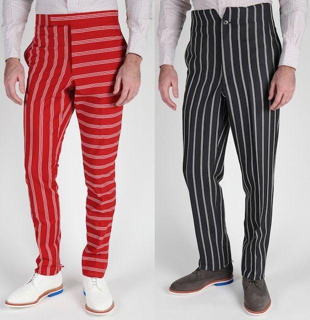 Thom Browne Men's Stripe Back Strap Pants | UpscaleHype | Striped ...