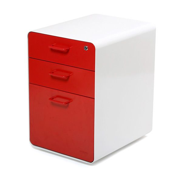 White  Red Stow 3Drawer File Cabinet  Home Small Home