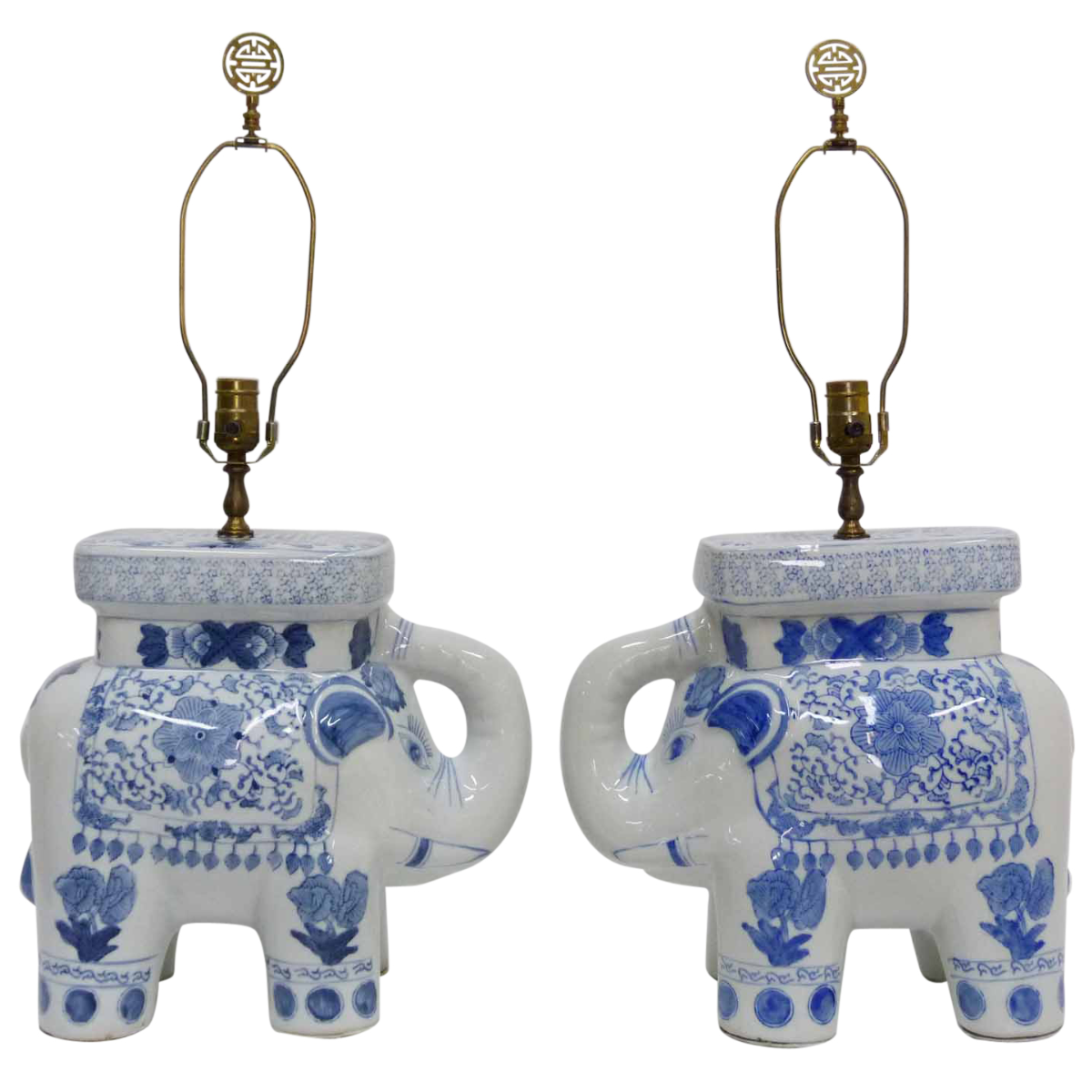 Vintage pair of Chinese blue and white porcelain elephant table
