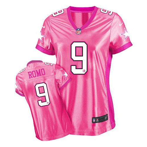 game tony romo womens jersey dallas cowboys 9 new be luvd pink nike nfl