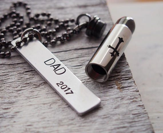 Mens personalized jewelry Mens urn necklace Cremation Silver