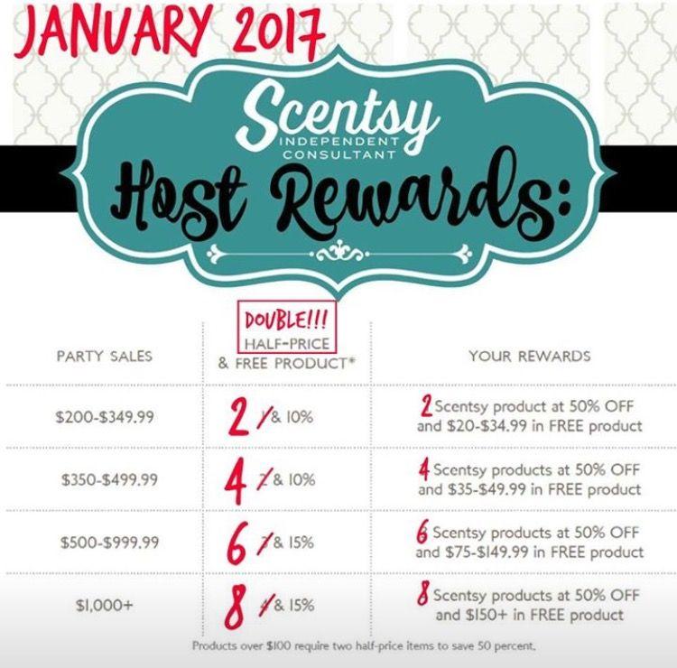 January 2017 Double Scentsy Hostess Rewards Party Hostess