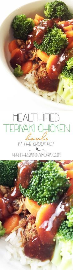 Teriyaki can be healthy? Yes it can! These Healthified Crock Pot Teriyaki Chicken Bowls are full of flavor and loads of vegetables! TheSkinnyFork.com
