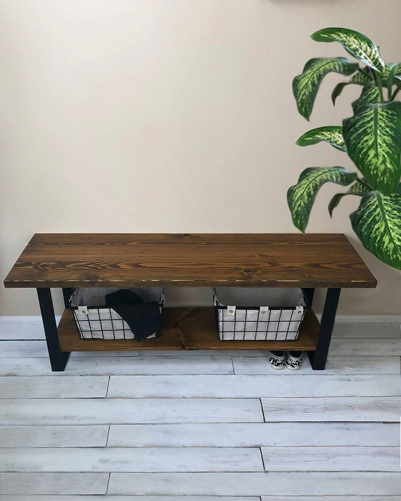 Entrance Bench With Shoe Rack Steel Legs Farmers Bench