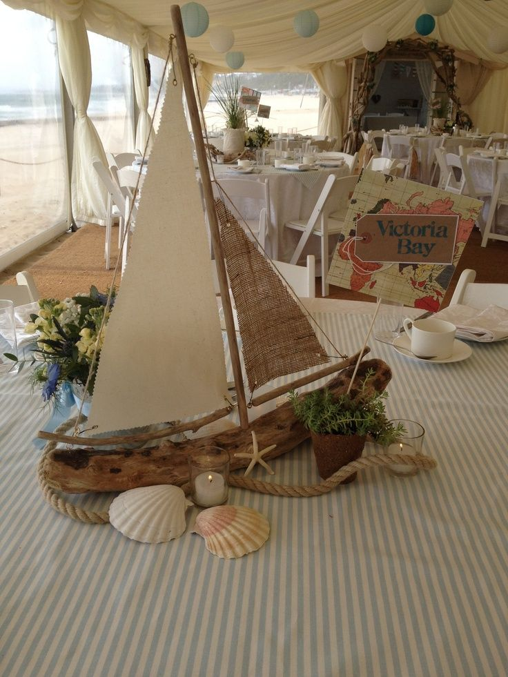 Driftwood sailboat centerpiece wedding decorations