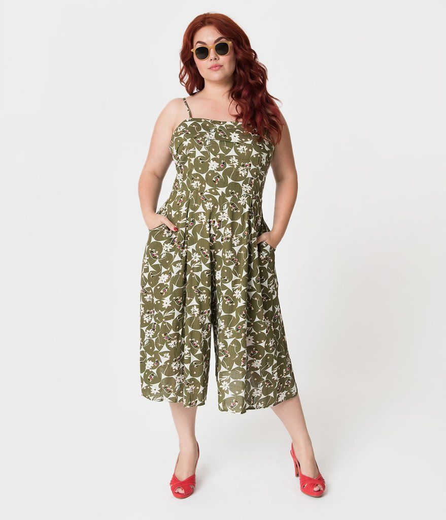 Plus size olive green u floral linen wide leg nancy romper perfect
