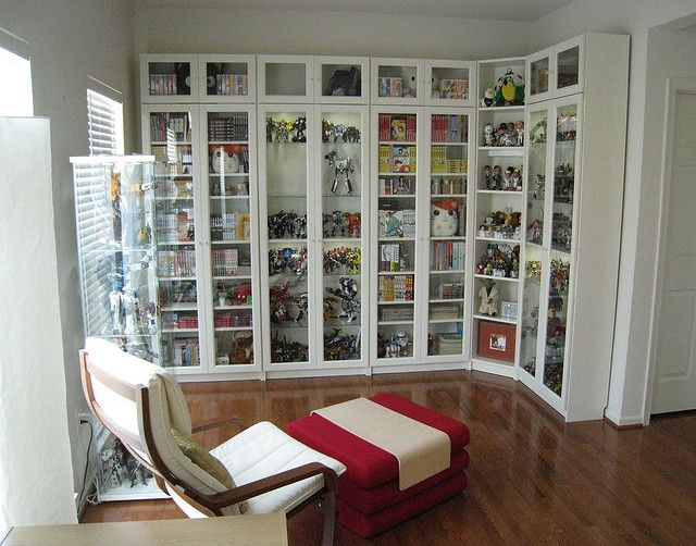 Billy Bookcases From Ikea With Height Extensions And Gl Doors We Used Solid Shelves For Our Manga Collection Lights