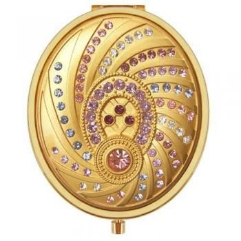 Gold Oval Vanity Compact Mirror