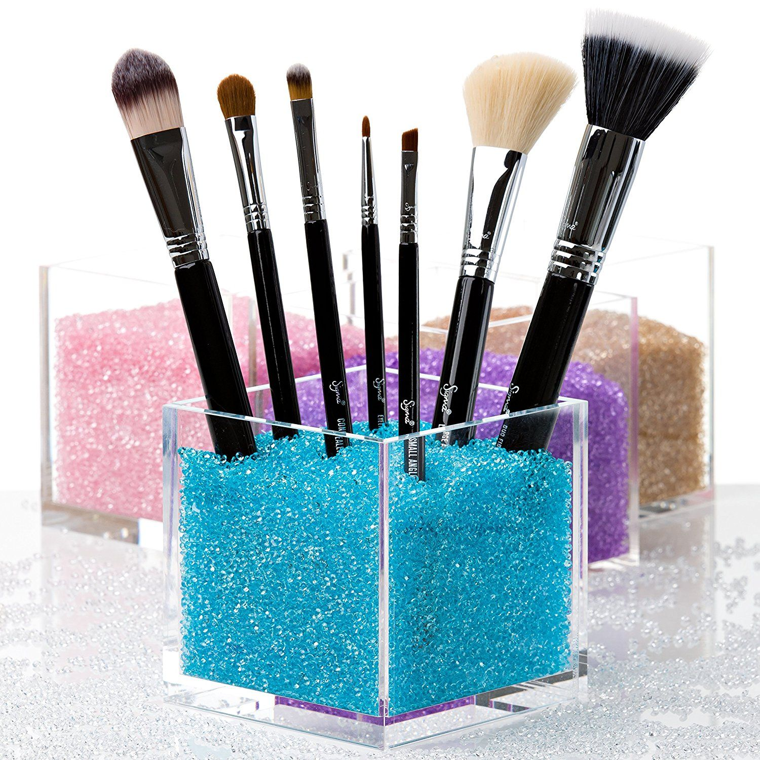 Acrylic Square Make Up Box ,plexiglass Makeup Brush Holder Countertop  Cosmeticanizer With Crystal Stones
