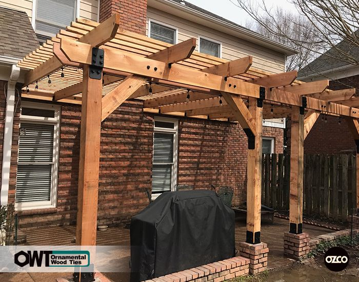 Beautiful Attached Pergola Built With Ozco Post Bases