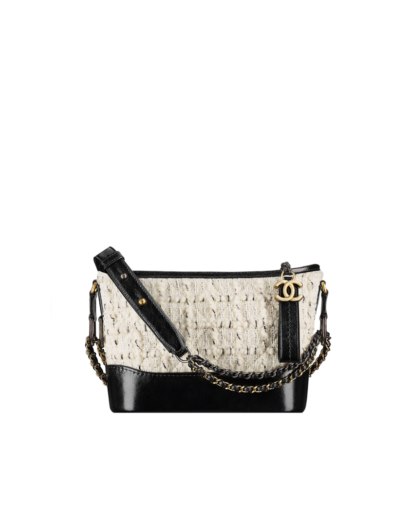1fceaa33a2aac1 CHANEL's GABRIELLE small hobo bag, tweed, calfskin, silver-tone & gold-tone  metal-off-white & black - CHANEL