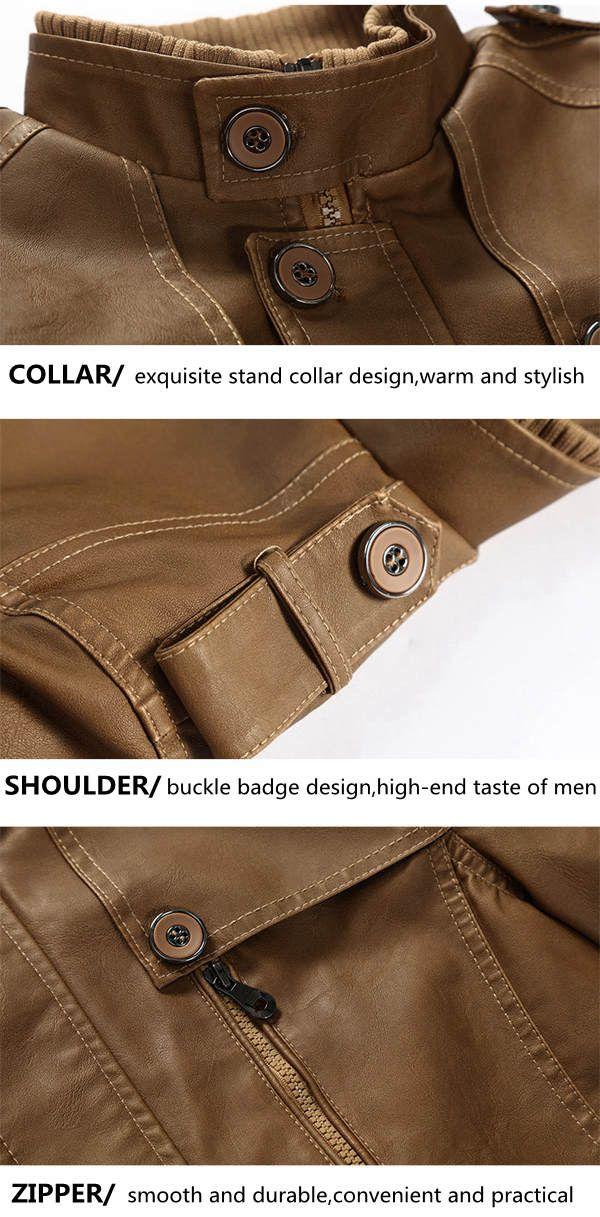 Men Winter Windproof Waterproof Thick Warm Velvet Plus PU Leather Jackets Outdoor Long Parka Coats at Banggood