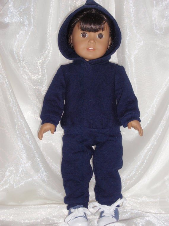 18 Inch Doll Navy Blue Sweatshirt Pants and Matching Hoodie, AG Doll Clothes, 18 Doll Clothes, Girl #18inchdollsandclothes