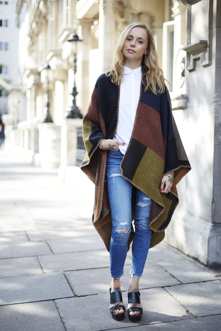crazy for blanket capes | cape, jean outfits and ponchos