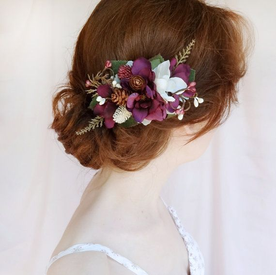 Eggplant Wedding Hair Flower Purple Hair Clip Purple Hair Comb
