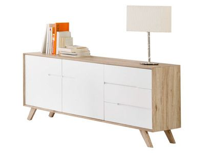 Buffet bois décor san remo portes tiroirs pieds pin massif