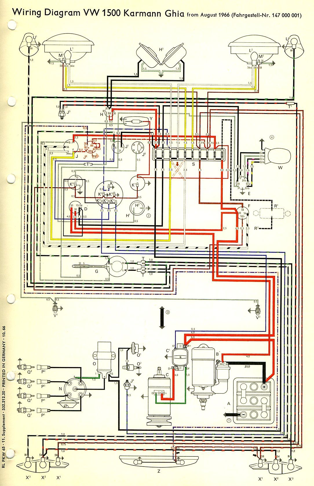 TheSambacom Karmann Ghia Wiring Diagrams, thesamba karmann ghia wiring  diagrams open the diagram on yourputer with an image program please note  some of the fus… di 2020Pinterest