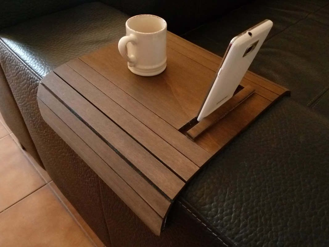 Sofa Arm Rest Tray Ottoman Single Bed Laser Cut Wood Armchair Table With Device Stand