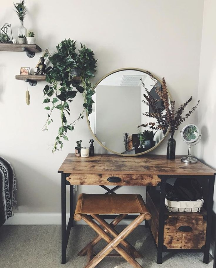 Rustic bedroom decor with brass mirror and greenery  Wooden desk vanity boho makeup desk station shelf office hippie green plants eucalyptus hanging plants wood shelves industrial -   22 desk decor shelves