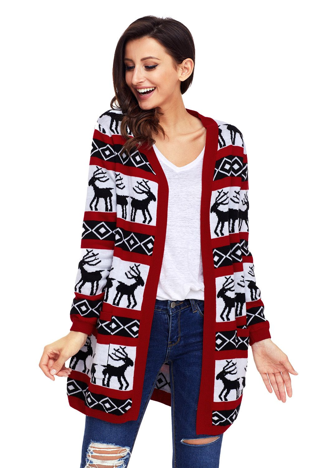 Red White Christmas Geometric Cardigan In in 2020
