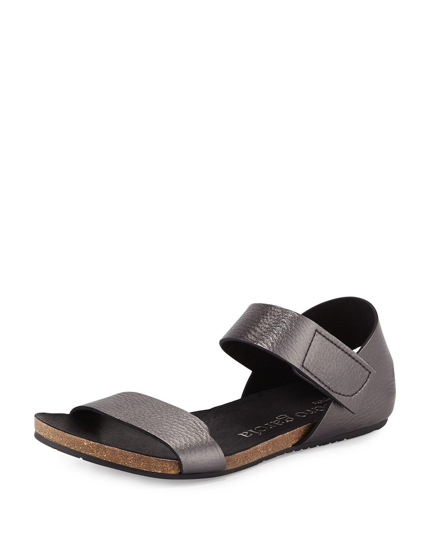 Juci Flat Metallic Leather Sandal, Anthracite, Women's, Size: 36.0B/6.0B, Antracite - Pedro Garcia