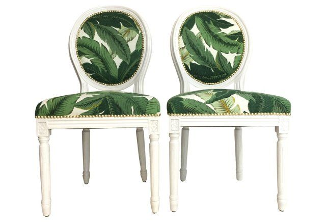 Incroyable Banana Leaf Chairs, Pair Throne Upholstery Beverly Hills Collection Roxy  Sowlaty White Lacquered Dining Chairs With Emerald Green Upholstery Palms  ...