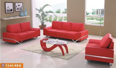 7240 Sofa In Red Bonded Leather By American Eagle Furniture