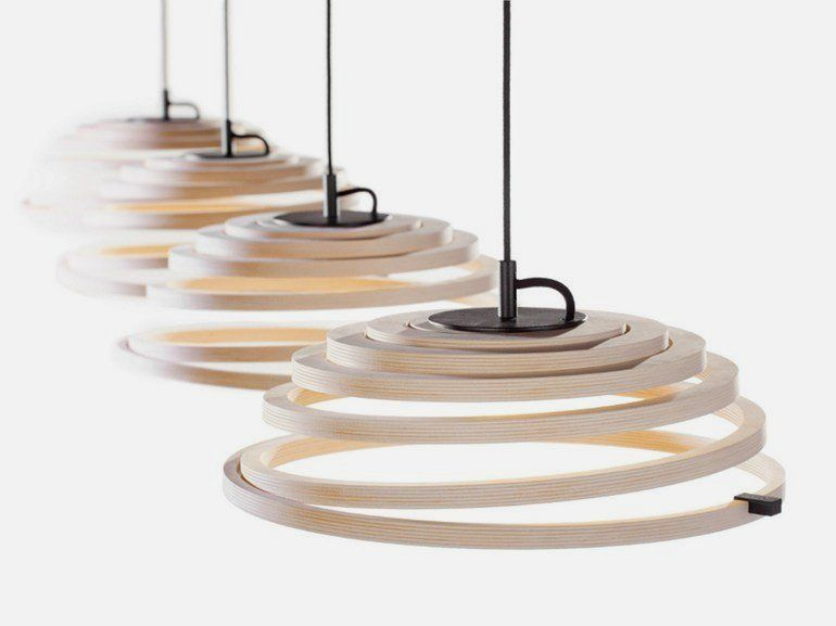 Modern Pendant Lamp with Wooden Spiral Shade Aspiro Pendant Lamp