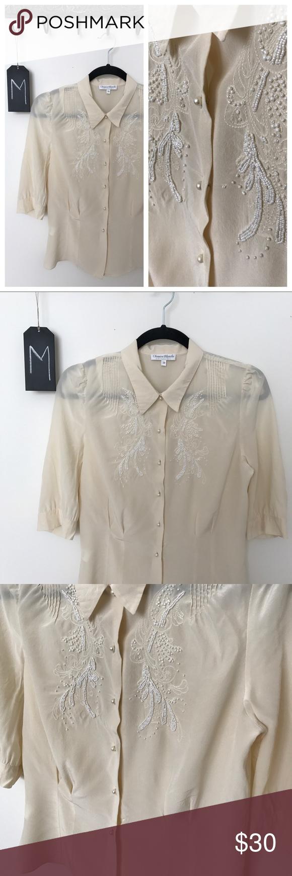 Vintage Chemise Blanche Ventilo Beaded Silk M Clothes Design Vintage Tops Fashion