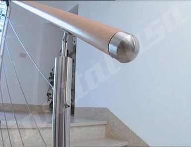 INOX Stainless Bar System featuring Woodinox Raw Handrail; Wire Rope ...