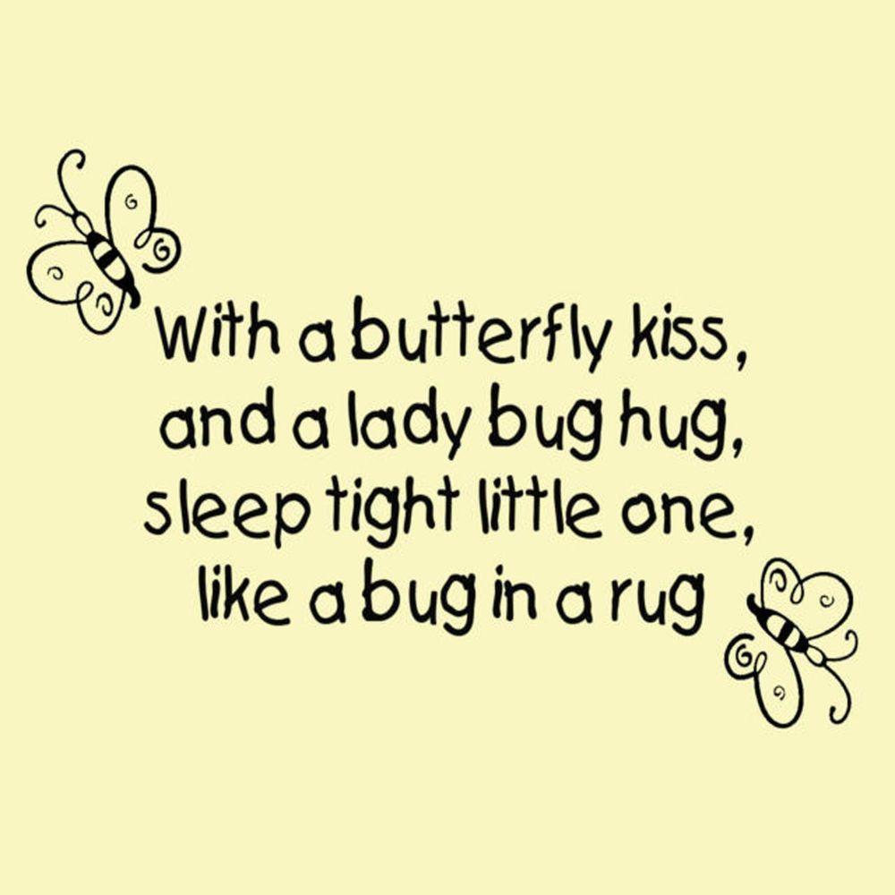 With a Butterfly Kiss and a Ladybug Hug Vinyl Wall art, Nursery Kids ...