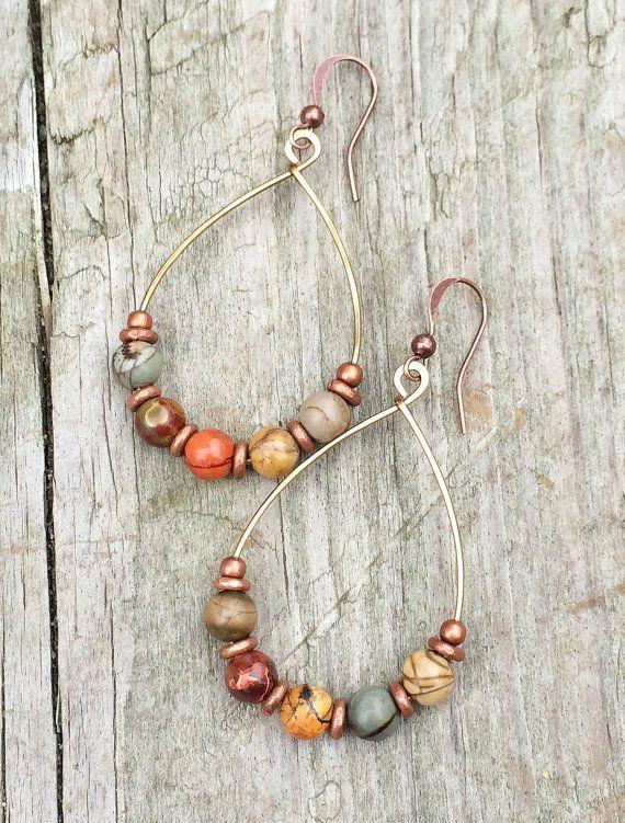 Photo of Copper Hoop Earrings, Natural Stone Jewelry, Boho Hoop Earrings, Bohemian Jewelry
