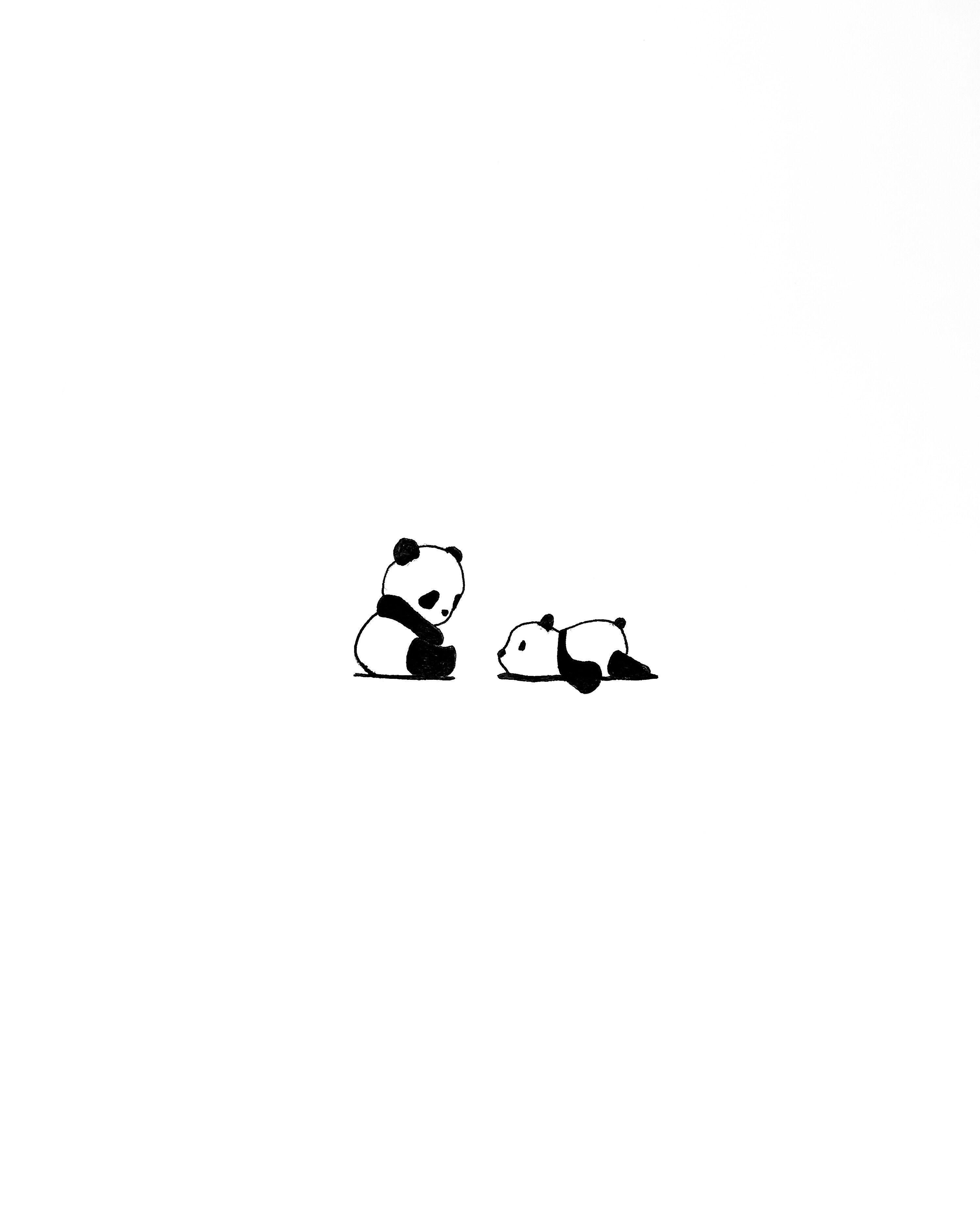 Lazy Panda Homedecor Redo Micron Black White Miniaturas Minimalism Cute Panda Wallpaper Cute Simple Wallpapers Cute Little Drawings